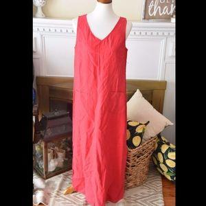 J Jill Red Hibiscus Sleeveless Shift Linen Dress